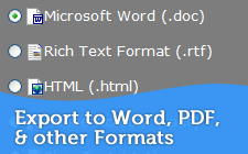 Export to Microsoft Word, PDF and Other Formats